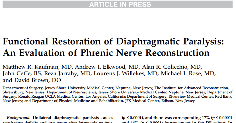 Functional Restoration of Diaphragmatic Paralysis: An Evaluation of Phrenic Nerve Reconstruction