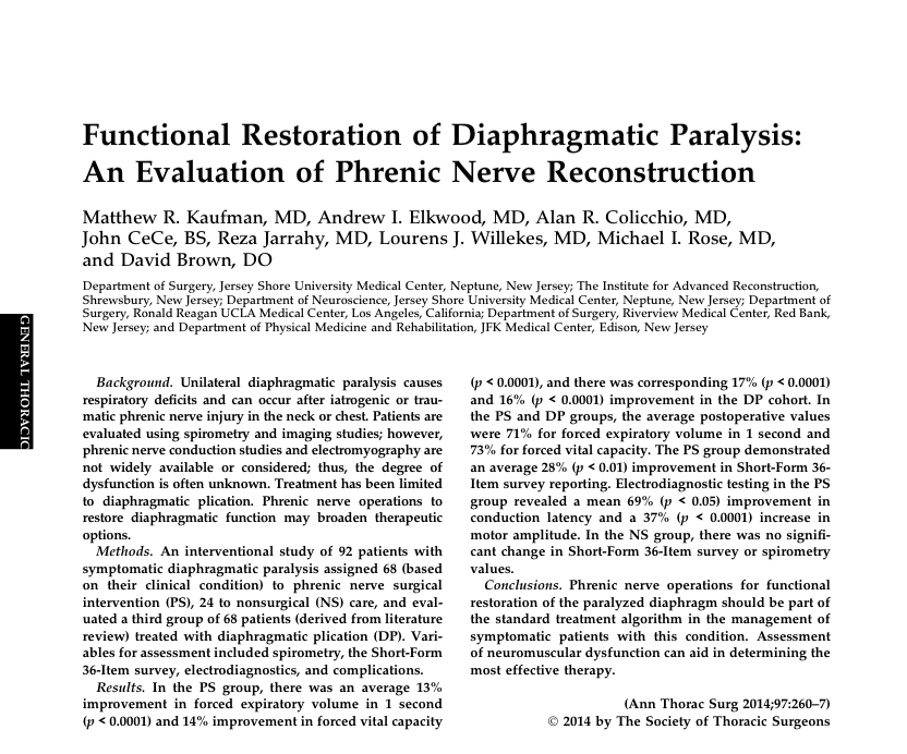 Functional Restoration of Diaphragmatic Paralysis